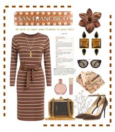"""""""San Francisco"""" by conch-lady ❤ liked on Polyvore featuring Vince Camuto, Dot & Bo, Universal Lighting and Decor, George & Laurel, Chanel, Jimmy Choo, CÉLINE, Smith & Cult, Estée Lauder and women's clothing"""