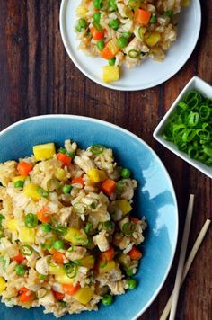 Toss the takeout menu with a recipe for quick homemade Pineapple Chicken Fried Rice loaded with healthy flavor.