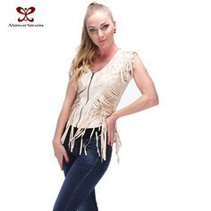 b57fb85a22474 vest womens Picture - More Detailed Picture about 2016 New Fashion Women  Tassel Vest Vintage Rough Rider Leather Vest Tassels PU Sleeveless Brown  Unmarked ...