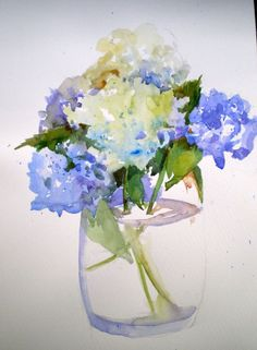 Hydrangeas in watercolor: