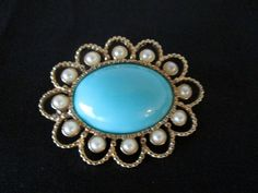 Vintage Sarah Coventry Pin / Pendant Turquoise Faux Pearl Gold Filigree Design #SarahCoventry