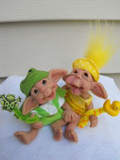 OOAK Polymer baby TWINS elf troll boy frog & girl duck fairy art doll sculpt