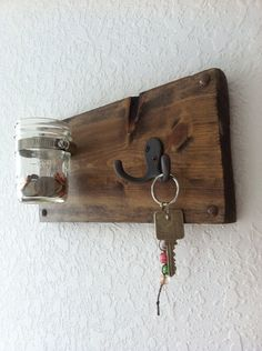 Mason Jar Wall Decor with Hook on Etsy, $25.00