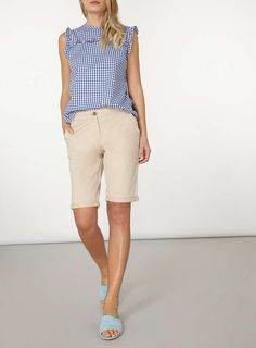 Womens Stone Knee Length Chino Shorts- Beige