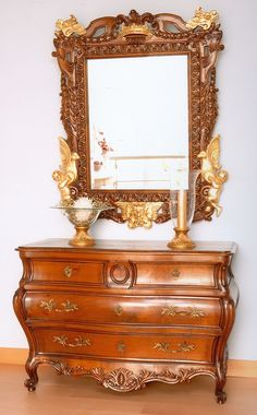 Dresser and Mirror. Furniture luxury, 100% solid from wood cherry