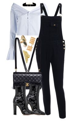 """""""Chanel x Gianvito Rossi"""" by muddychip-797 ❤ liked on Polyvore featuring Jacquemus, Repossi, Anissa Kermiche, Chanel, Gianvito Rossi, overalls, fashionset and meetings"""