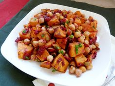 Vanilla & Spice: Roasted Sweet Potato & Chickpea Salad with Warm Cranberry Chutney Dressing