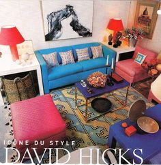 Symmetry and amazing use of color...David Hicks in the 1960s...From www.bellemaison23.com