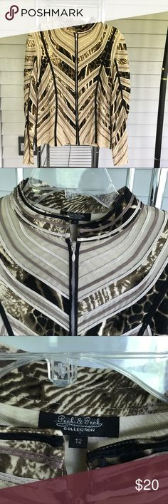 Stein Mart jacket blouse size 12 Stein mart Peck & Peck ladies jacket/blouse. From stein mart Full zip in the front. Textured trim throughout. A beautiful jacket! EUC peck a peck Jackets & Coats Blazers