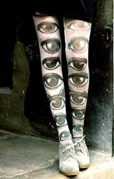 Eye print tights