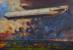 "Alfred Egerton Cooper (1883-1974) British 'Study Airship 9', Oil on Board, Signed with Initials, and Inscribed verso, 11"" x 16"""