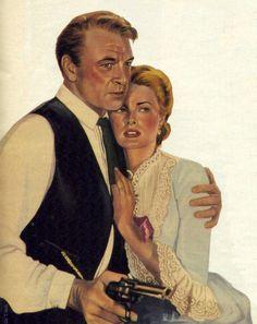 """Gary Cooper y Grace Kelly en """"Solo ante el peligro"""" (High Noon), 1952"""
