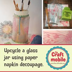 Upcycle a plain glass jar using paper napkin decoupage (featured)