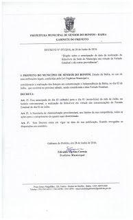 NONATO NOTÍCIAS: BONFIM: DECRETO 073/2016, ANTECIPA FEIRA LIVRE PAR...