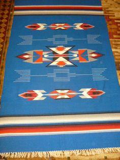 "Vintage Chimayo Indian Woven Wool Blanket Throw Rug Coverlet 54"" x 82"""