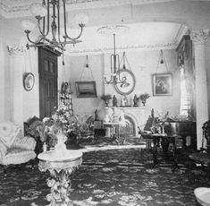 This period photo taken in the 1860's, shows the parlor of a mansion built in 1841.