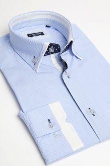 Camisa de Hombre Majestic Elegance Collection Fine raya azul de cielo y negro