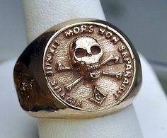 NEW 18K ROSE GOLD PLATED MEN'S MASONIC RING MASON SKULL | eBay