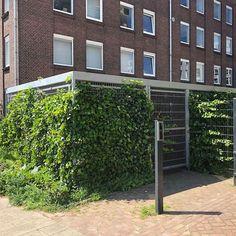 Bij een appartementencomplex in Rotterdam is een Falco fietsoverkapping geplaatst waarvan de wanden zijn begroeid met Hedera. De stalling is afsluitbaar middels een enkele deur en in de overkapping zijn diverse fietsenrekken geplaatst om fietsen van bewoners in te plaatsen. Rotterdam, Outdoor Structures, Om
