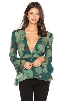 STONE_COLD_FOX Rosaline Blouse em Green Lilypad