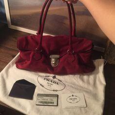 Authentic Prada suede Is so cute no more words  color red wine Prada Bags