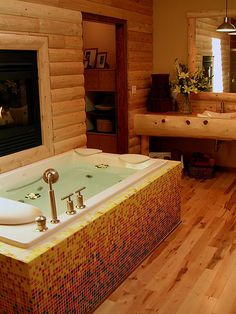 Glass Mosaic Tile Gradient Design on Tub Surround, via Flickr.