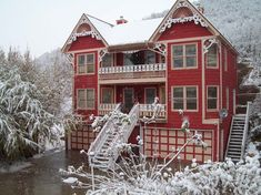 Red and White Gingerbread House Victorian