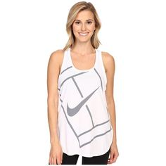 Nike Court Baseline Tennis Tank Top (White/White) Women's Sleeveless ($45) ❤ liked on Polyvore featuring activewear, activewear tops, nike activewear, nike and nike sportswear