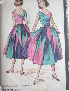 RARE-VTG-1956-McCall's Pattern-3980-Harlequin Dress-EMILIO PUCCI-of CAPRI-MINT-