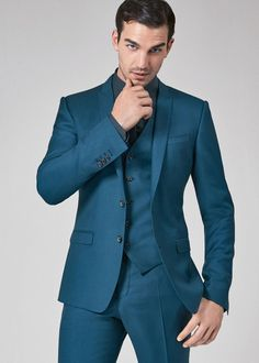 seal the teal // Dolce & Gabbana SS 2016 Teal Suit, Blue Suit Men, Blue Suit Wedding, Wedding Suits, Mens Fashion Suits, Mens Suits, Terno Slim Fit, Nehru Jacket For Men, Men's Business Outfits