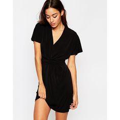 ASOS Crepe Wrap Pencil Dress ($54) ❤ liked on Polyvore featuring dresses, black, tall black dress, black v neck dress, v neck wrap dress, flutter sleeve dress and black vneck dress