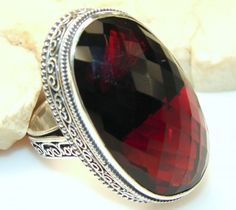 Simple Red Quartz Sterling Silver Ring s. 9