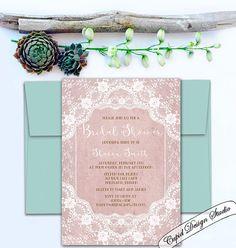 Boho chic bridal shower invitation. Rustic chic by CupidDesigns
