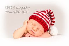 Handmade baby Santa hat (candy cane hat) with long tail by PhotoPropsnMore