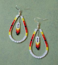 Native American Fire Tear Drop Hoop Beaded by TheBlueJeanGypsies Beaded Earrings Patterns, Bead Loom Patterns, Beading Patterns, Crochet Earrings, Beading Ideas, Beading Projects, Loom Beading, Seed Bead Jewelry, Seed Bead Earrings