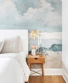Watercolor Blue & Grey Cloud Wallpaper