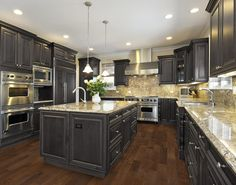 Luxury kitchen design is the heart of a luxury home. We chose 174 of jaw dropping luxury kitchen designs to as inspiration for your home. Cherry Wood Kitchen Cabinets, Cherry Wood Kitchens, Dark Wood Kitchens, Cherry Kitchen, Granite Kitchen, Granite Countertops, Dark Cabinets, Kitchen Island, Floors Kitchen