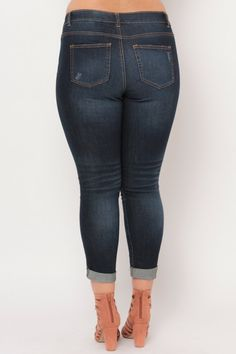 Plus Size Distressed Skinny Ankle Jean- Dark Wash Plus Size Womens Clothing, Clothes For Women, Classy Girl, Skinny Ankle Jeans, Latest Trends, Curvy, Dark, Collection, Fashion