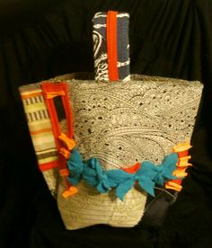 Handcrafted Bucket Tote with Recycled T-Shirt Accents! By Kimberly Cannon!  Kimcanink@yahoo.com