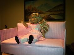 DIY make your own sofa for an American Girl doll.