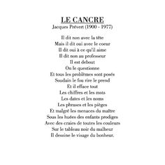 le cancre poem jacques prevert - Google Search