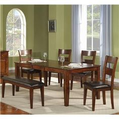 1279 Mango Wood Leg Table with Side Chairs and Bench by Holland House - L Fish - Dining 5 Piece Set Indianapolis, Greenwood, Greenfield, Fishers, Noblesville, Carmel, Avon, Plainfield, IN