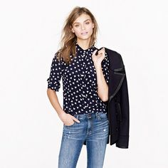 J. Crew has such cute prints. This is the Silk boy shirt in French hen (i.e., little white chickens)