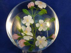 LARGE Artists Proof PAUL STANKARD Compound WHITE & Pink FLOWER Glass PAPERWEIGHT £900