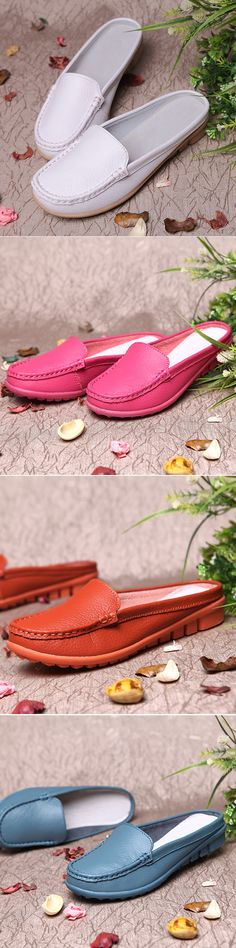 45% OFF! US$20.85 Big Size Pure Color Backless Soft Leather Slip On Casual Shoes. SHOP NOW!