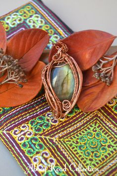 Wire Wrapped Labradorite Pendant. Enchanted by AbbeyRoadCollection