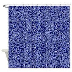 Classy Indigo Blue Paisley Shower Curtain