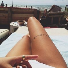 new Ideas tattoo leg text thigh tat Girly Tattoos, Hot Tattoos, Trendy Tattoos, Sleeve Tattoos, Tattoos For Women, Tattos, Random Tattoos, Text Tattoo, Thigh Tattoo Quotes