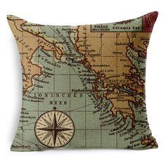 Sea Style Decorative Pillowcase Nautical Anchor Sailing Boat Map Linen Cushion Cover Car Office Sofa Seat  Home   Pillow Cover