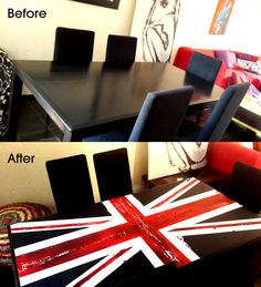 my dining room table refurbished with chalkboard paints - uk flag